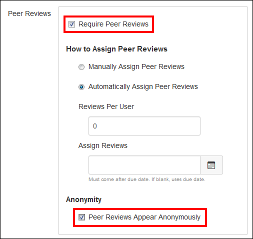 Screenshot of hte Peer Reviews section.