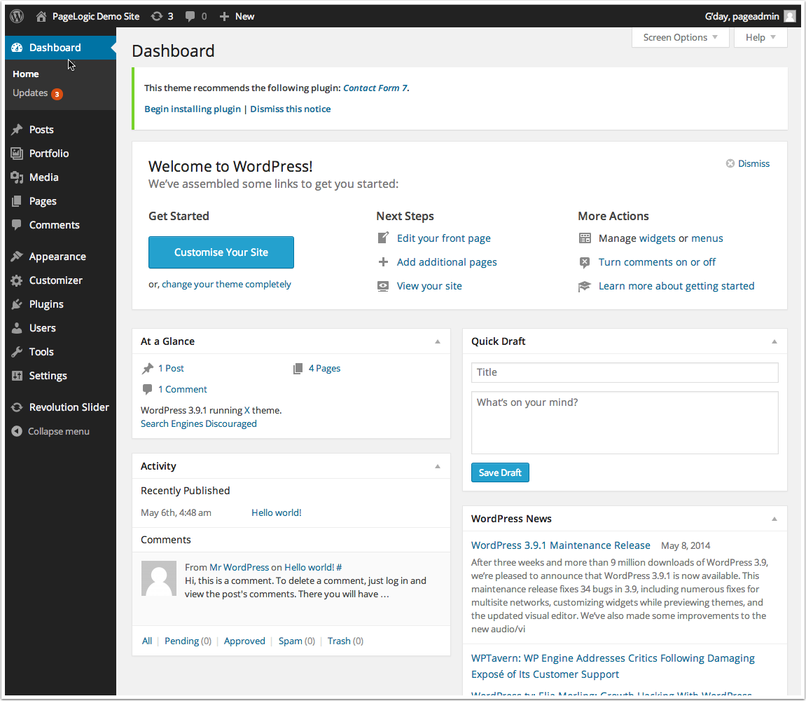 access wordpress dashboard