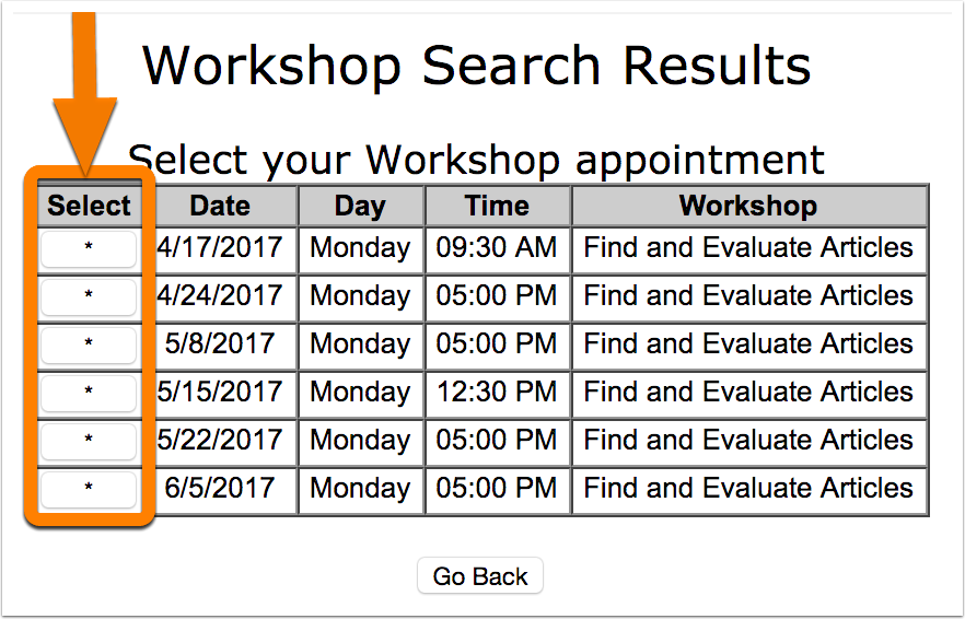 6. Click on the asterisk next to the workshop that you want to take in order to select it.