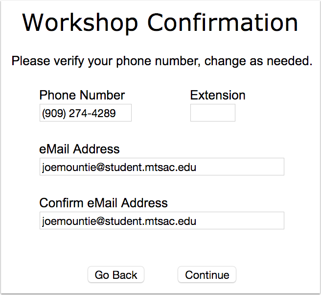 7. Confirm your contact information.