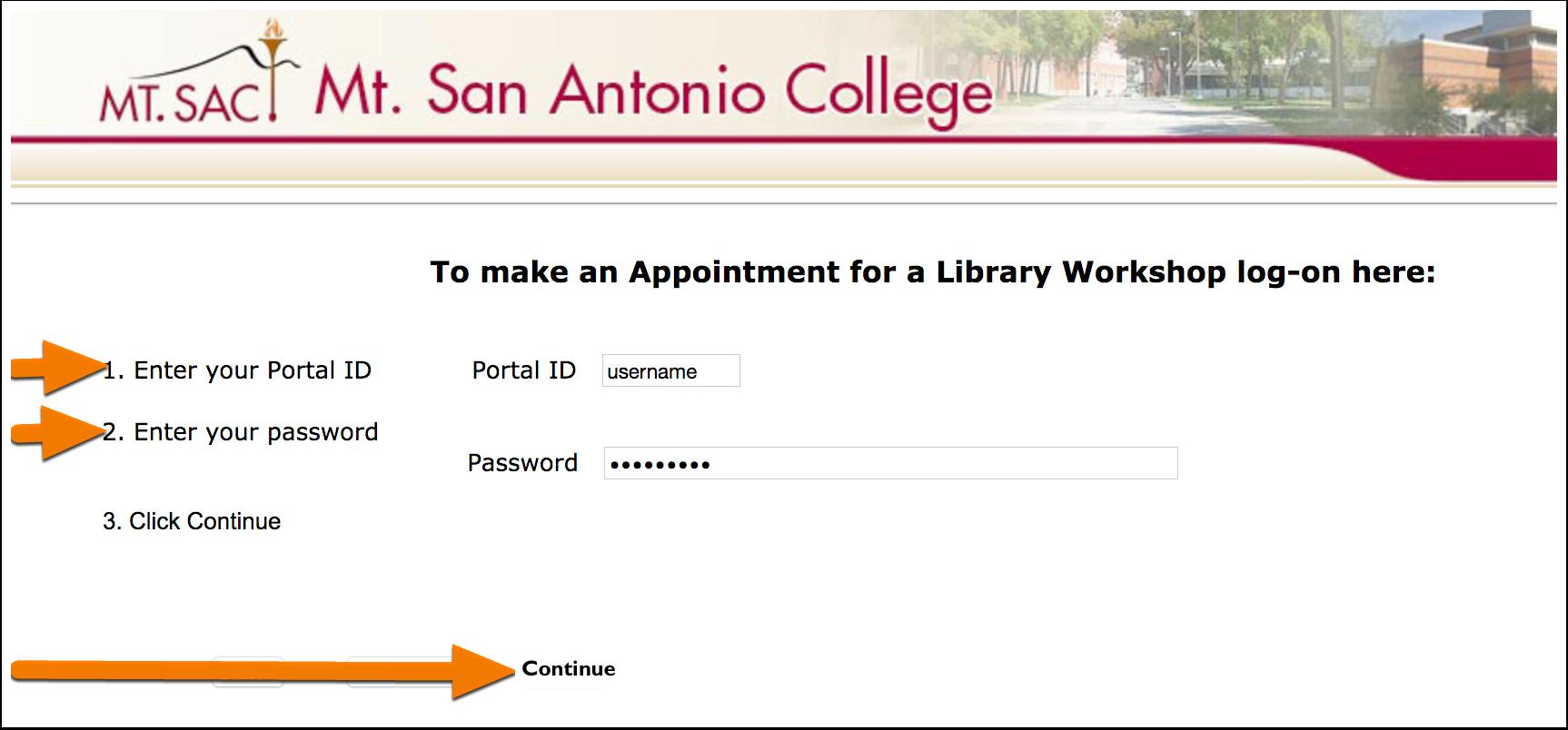 2. Login using your Mt. SAC portal username and password.