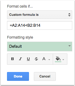 Now that we the format (you should be seeing some changes already) it is time to tell Google Sheets what those cells should look like.