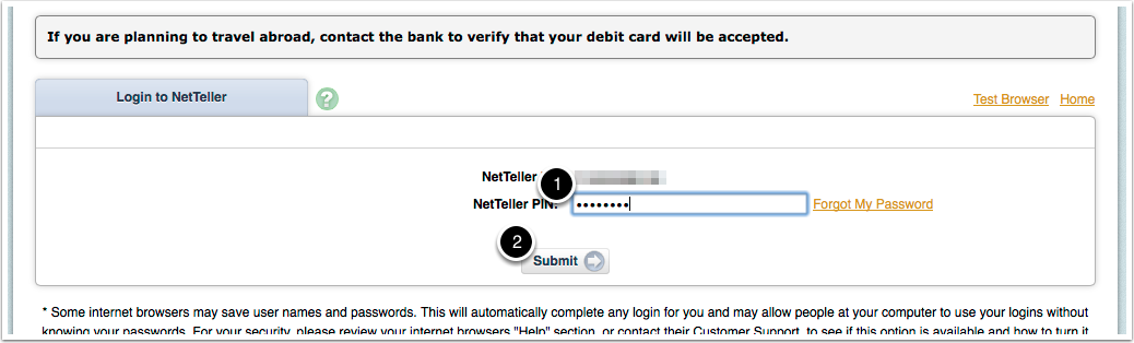 3. Enter you NetTeller password