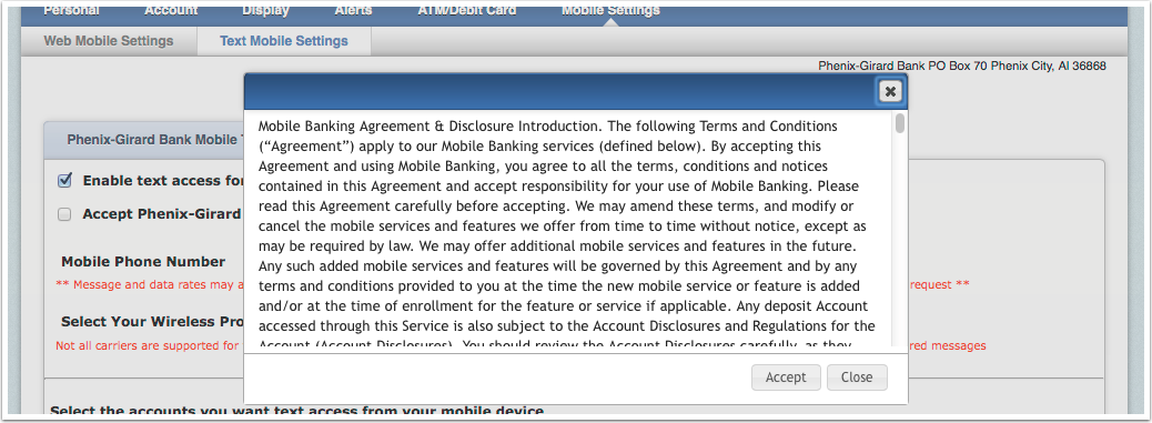 Text Banking Terms and Conditions