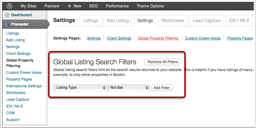 The Global Property Filtering page