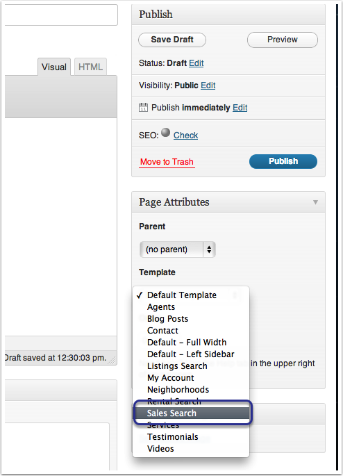 Step 5: Select your Template in the Page Attributes Box