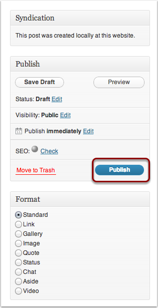 Publishing Your Post