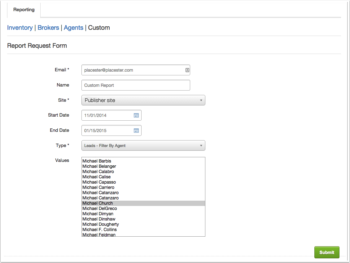 Custom Reporting: Leads - Filter By Agent