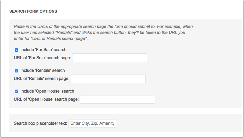 Search Form Options