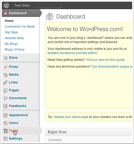 Go to your WordPress.com Dashboard