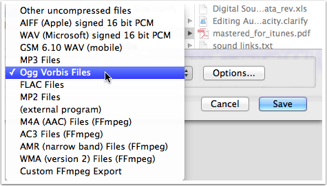 Select the File format you want