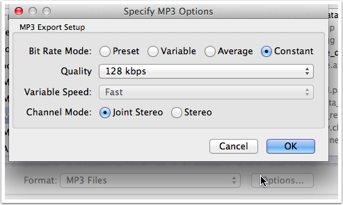 Specify MP3 Options