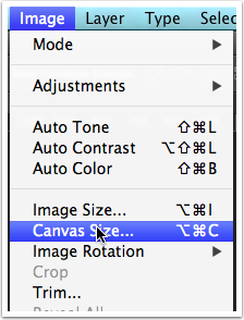 Select Image > Canvas Size