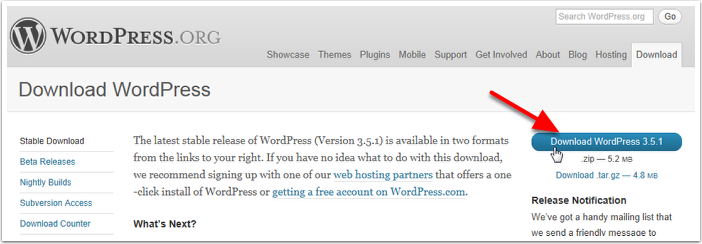 Go to the WordPress Download Page