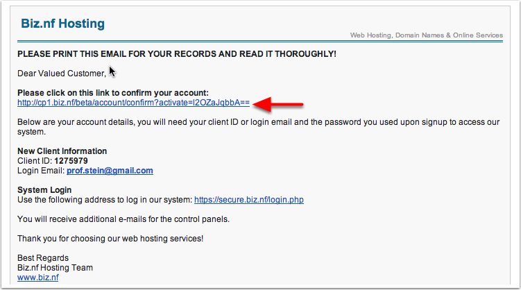 Click to Confirm your Email Account
