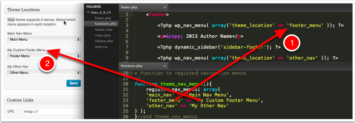 functions.php — Finally call the menu in a template using the wp_nav_menu() template tag.