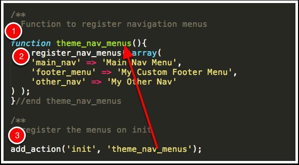 Register Menus in functions.php