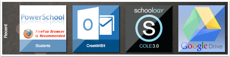 Click on the COLE 3.0 button, then return to myProductivity to click on CreekM@il.