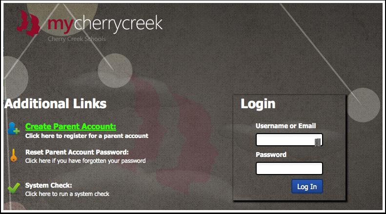 First, login to myCherryCreek at https://my.cherrycreekschools.org/