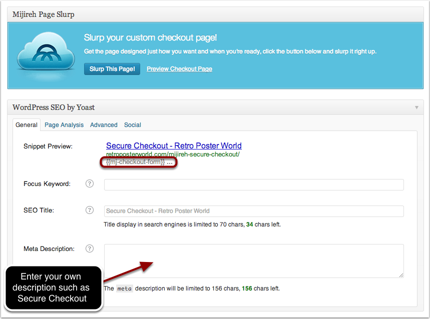 SEO WordPress plugins may auto-insert the checkout form token in the meta description