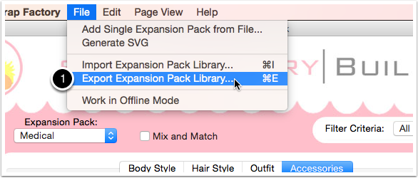 Go to File> Export Expansion Pack Library