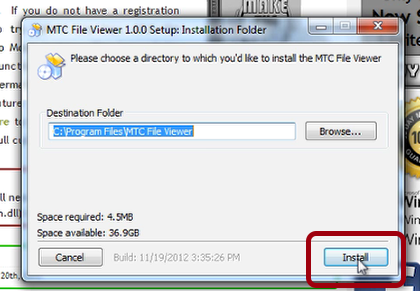 Install the MTC File Viewer EXE