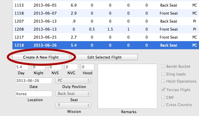 Click Create A New Flight Button