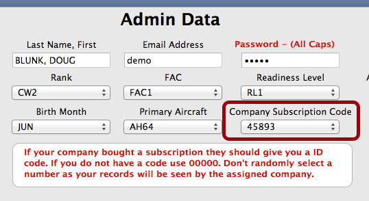 Company Subscription Code & Primary A/C