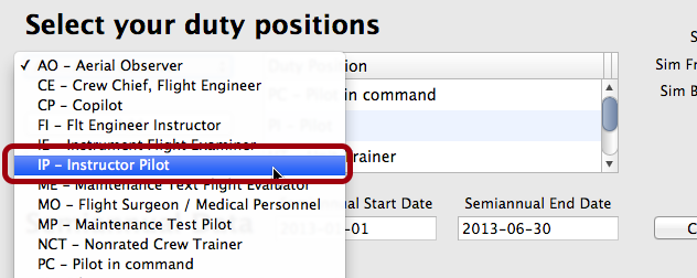 Select the Duty Position