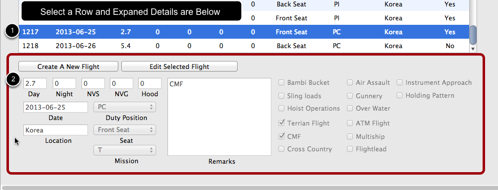 View expanded details by selecting a row.