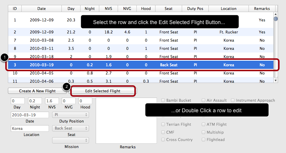 Select the Row and Click Edit Flight