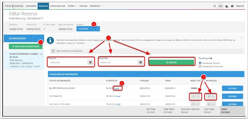 Editar reserva - Información general