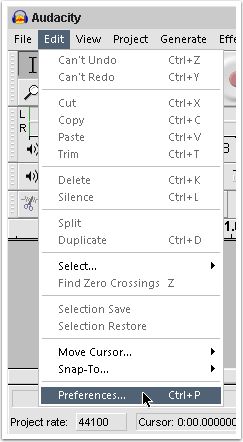 Check Recorder Settings in Audacity