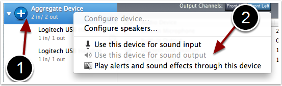 "Right-click on the ""Aggregate Device"" option and select ""Use this device for sound output"""