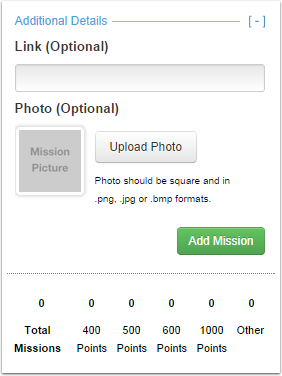 "4.2 This is the additional details screen. Click ""Add Mission"" when you are done."