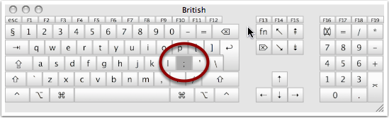 Pressed key(s) are highlighted