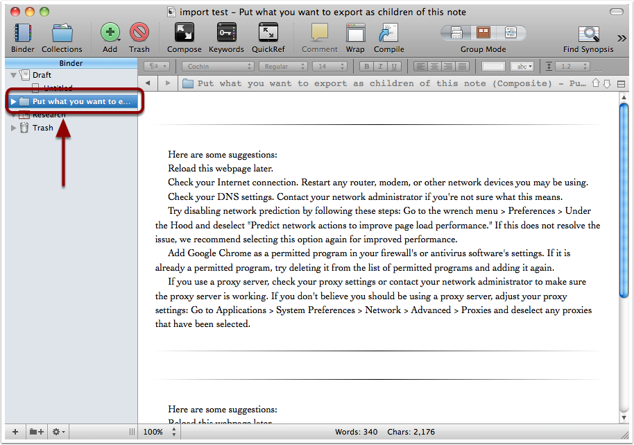 Data arrives in Scrivener