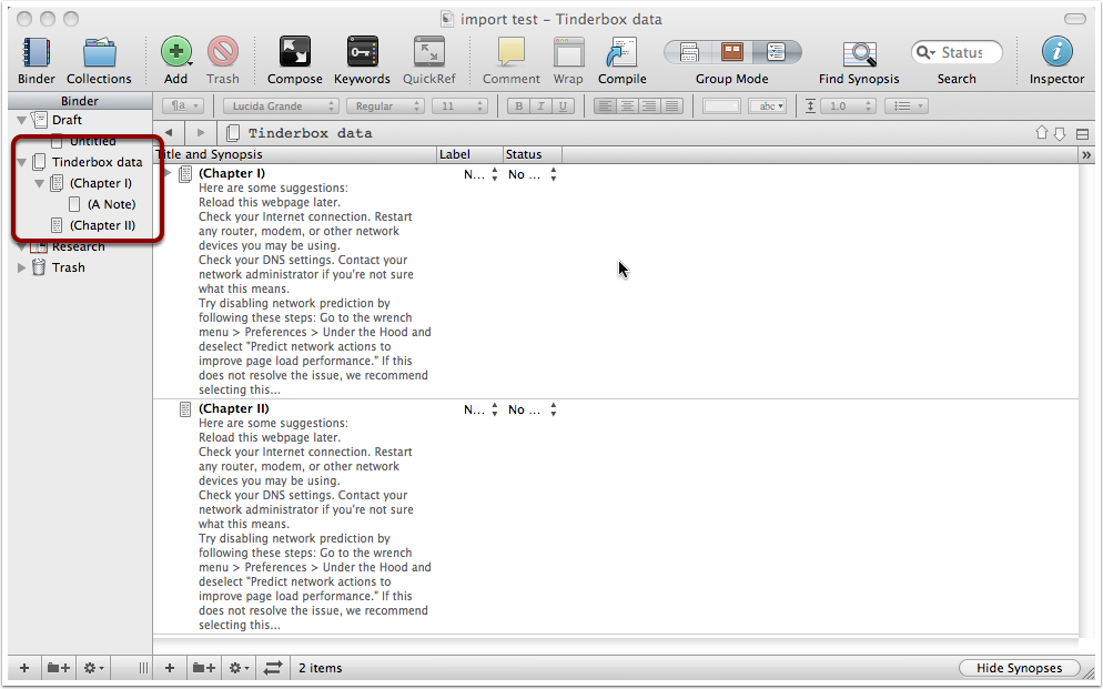 Making data arrive in Scrivener in a single set of Notes - 2