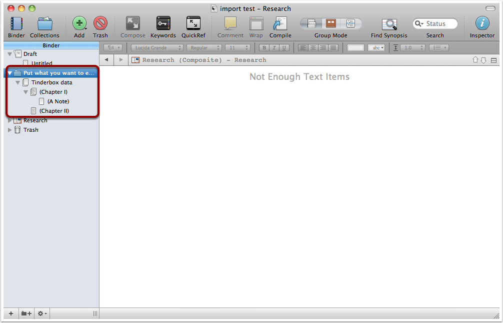 Making data arrive in Scrivener in a single set of Notes - 3
