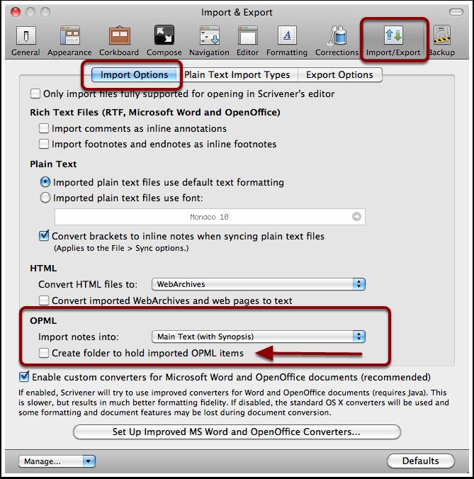 Setting Scrivener OPML Preferences
