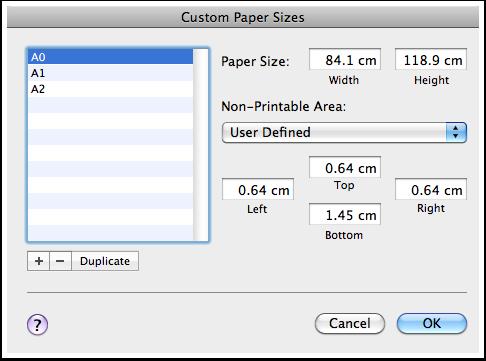 Custom Paper Sizes