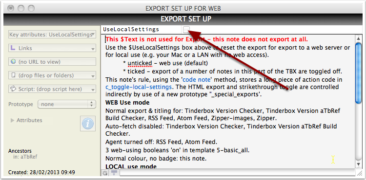 Setting the export toggle