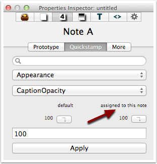 7. Understanding the default buttons - a single note with locally set value