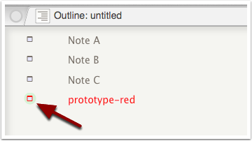 5. Prototypes notes are flagged in Outline & Chart views