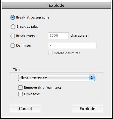 The Explode dialog
