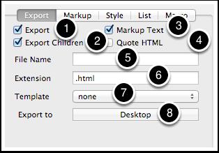8.1 HTML Inspector - Export tab