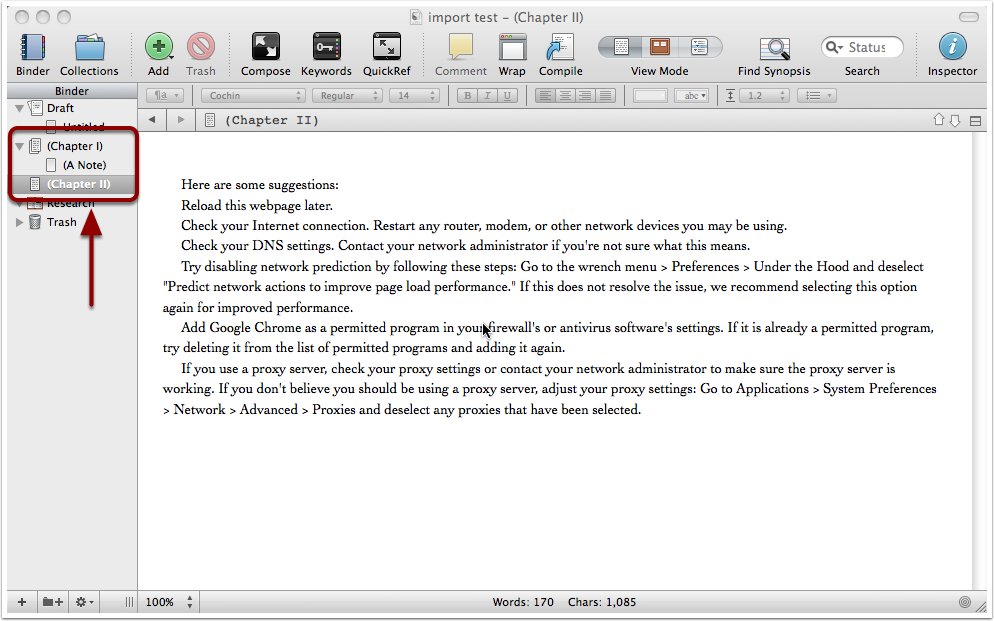 9. Data arrives in Scrivener (default Preferences)