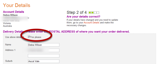 Select Postal Address of where you want items to be sent to