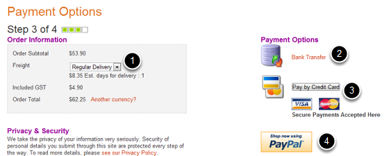 Payment Options Page