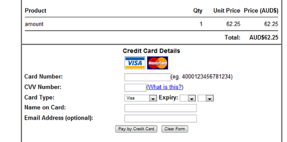 Credit Card Entry Screen